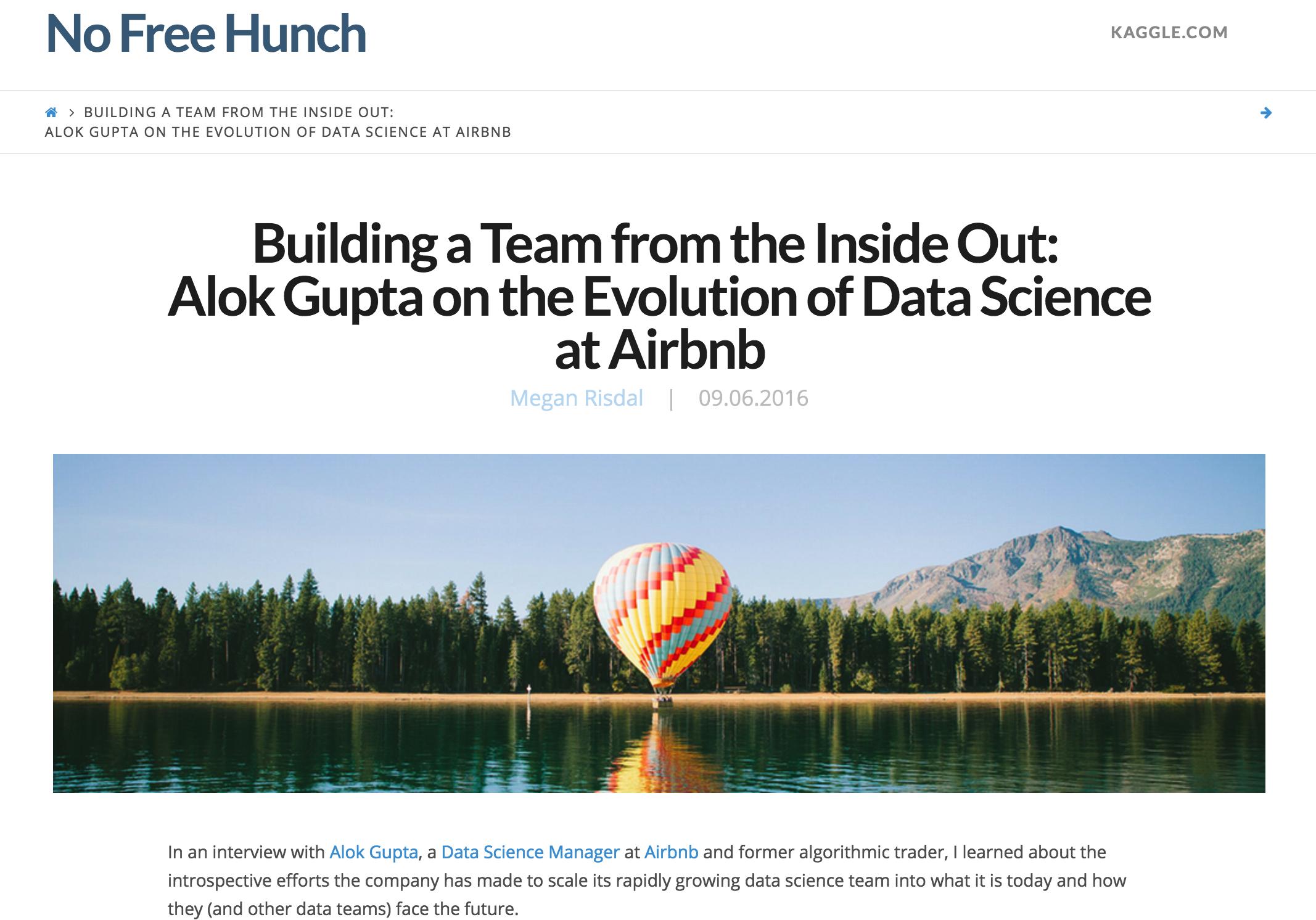 Kaggle interviewed me on Data Science at Airbnb | Alok Gupta